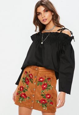 Black Paper Bag Bardot Blouse