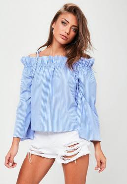 Niebieska bluzka bardot w paski
