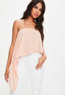 Pink Asymmetric Bandeau Top