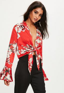 Red Floral Print Satin Blouse