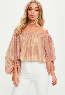 Rose Gold Dobby Mesh Bardot Crop Top