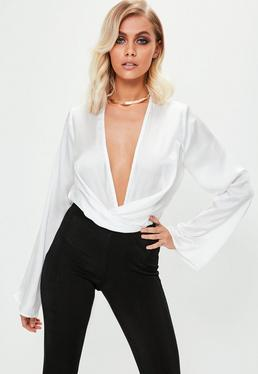 White Satin Drape Bodysuit