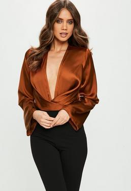 Brown Drape Bodysuit