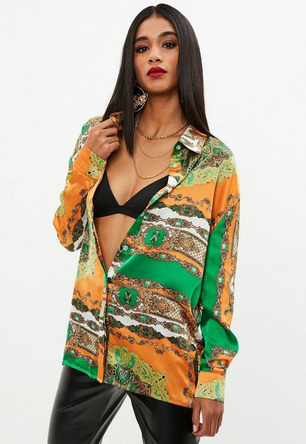 Orange Scarf Print Oversized Shirt Missguided
