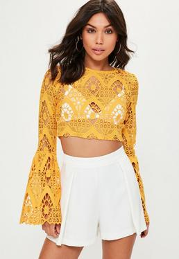 Yellow Lace Flare Cuff Crop Top