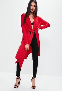 Camisa larga de satén en rojo