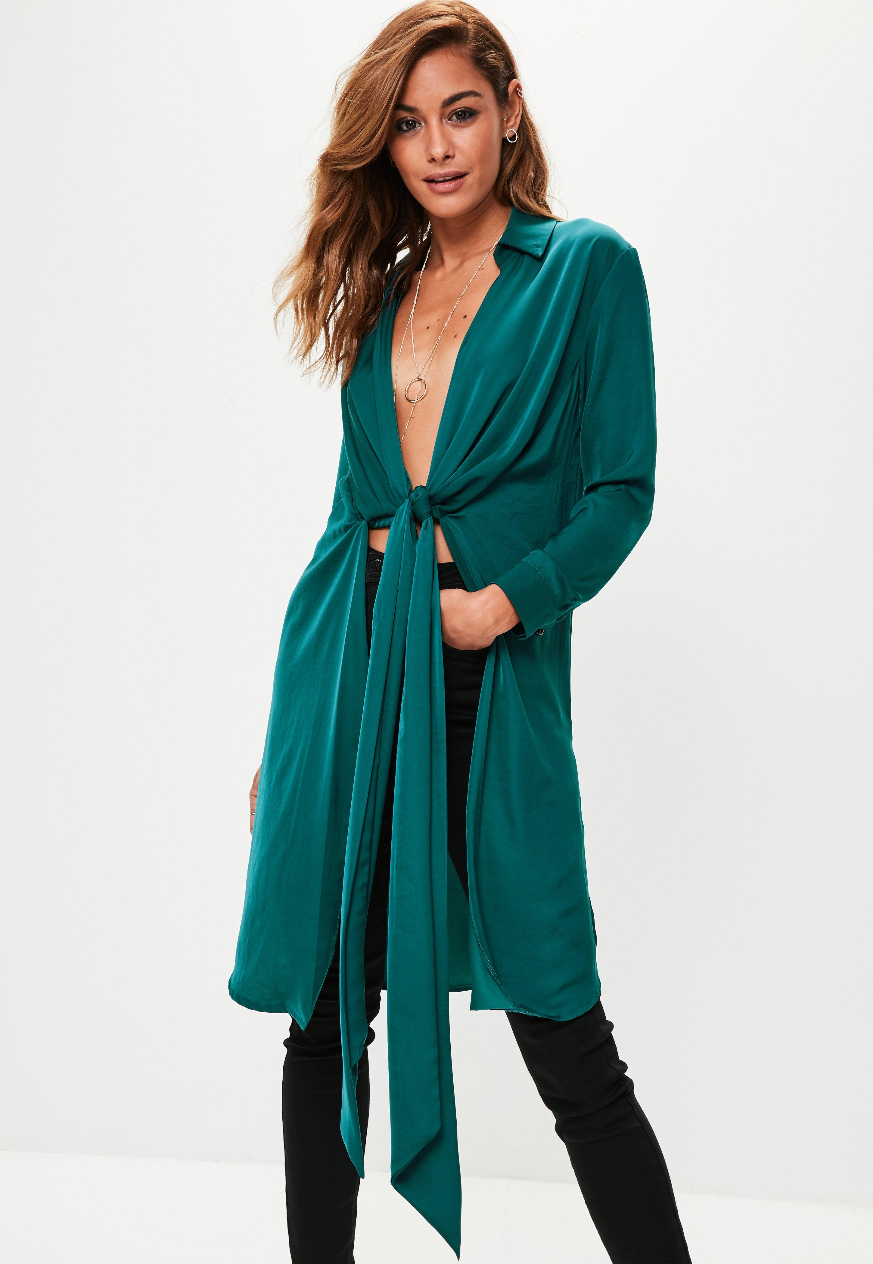 Green Hammered Satin Twist Front Longline Shirt | Missguided