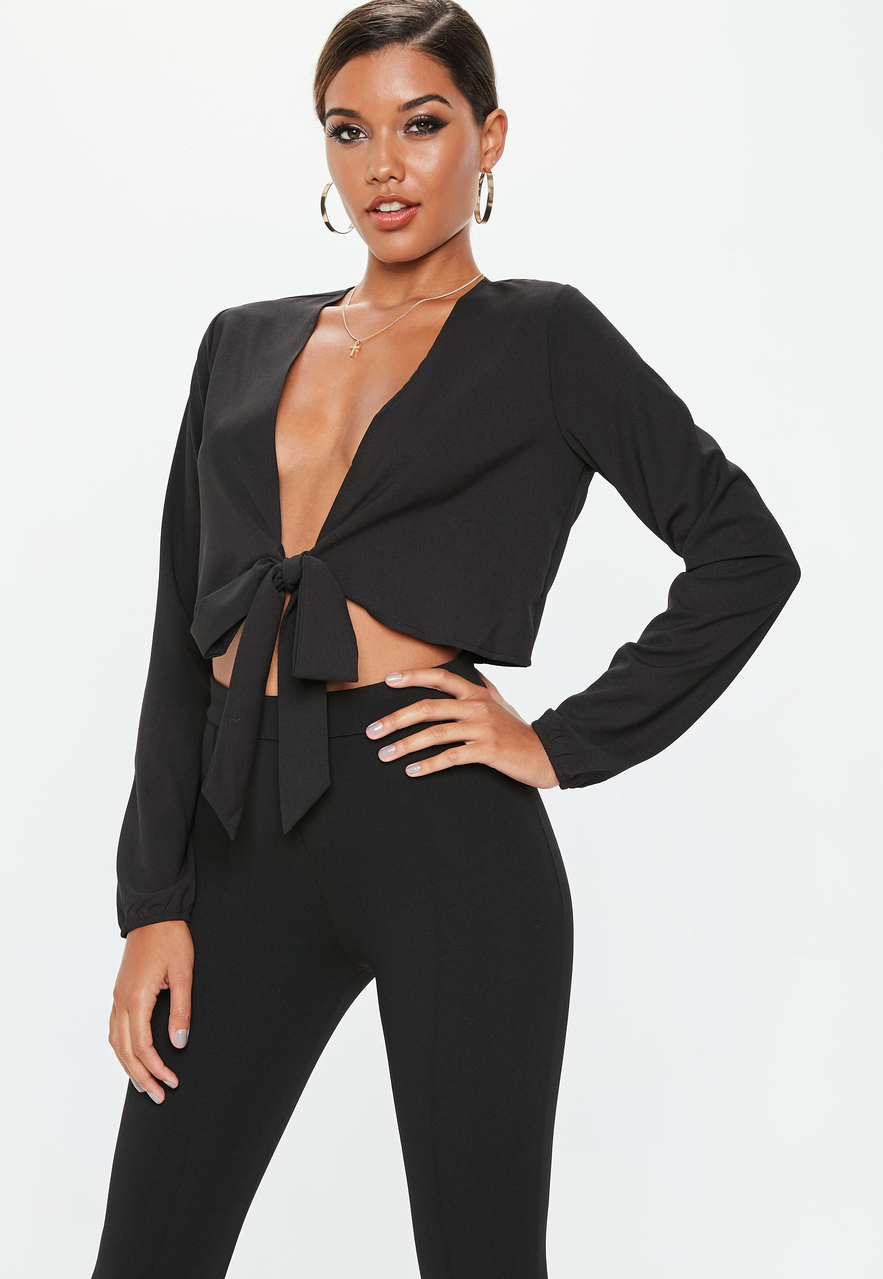 a7902f1cfe0 Black Tie Front Crop Top   Missguided