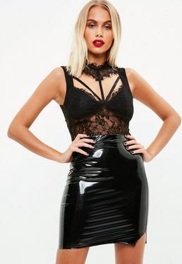 Black Lace Sleeveless Bodysuit