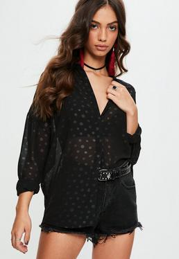 Black Spotted Sheer Oversized Shirt