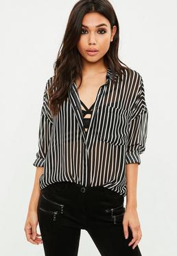 Black Stripe Sheer Shirt