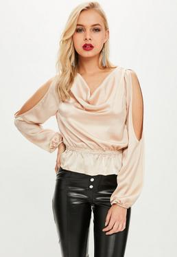 Nude Cowl Front Cold Shoulder Satin Top