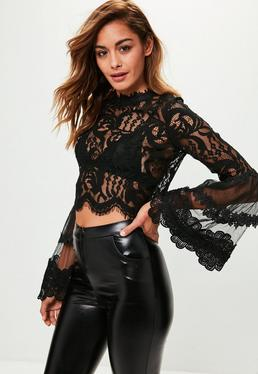 Black Lace Crochet Flared Sleeve Blouse