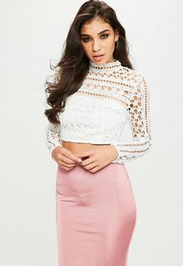 White Crochet Lace Crop Top