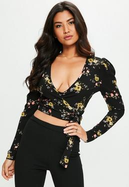 Black Floral Print Puff Sleeve Crop Top