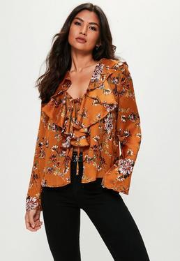 Orange Floral Print Frill Front Blouse