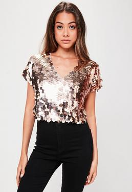 Rose Gold Sequin T-Shirt