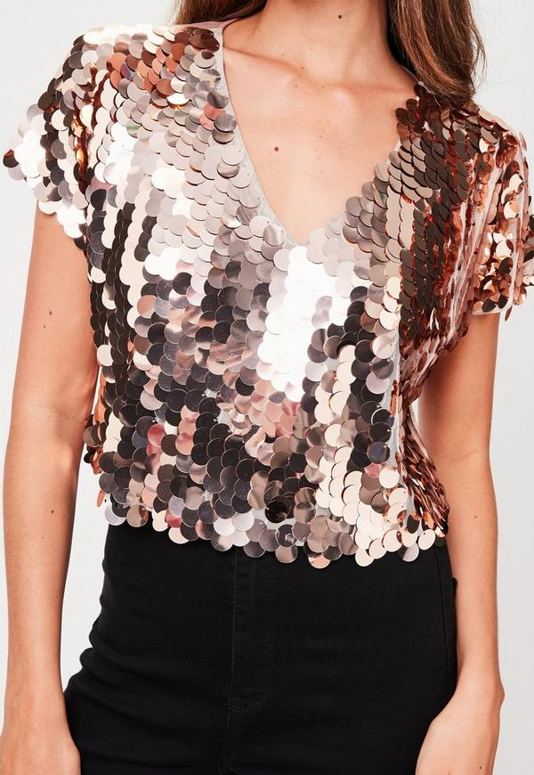 Rose Gold Sequin T-Shirt | Missguided