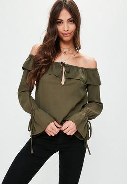 Bluzka bardot w kolorze khaki