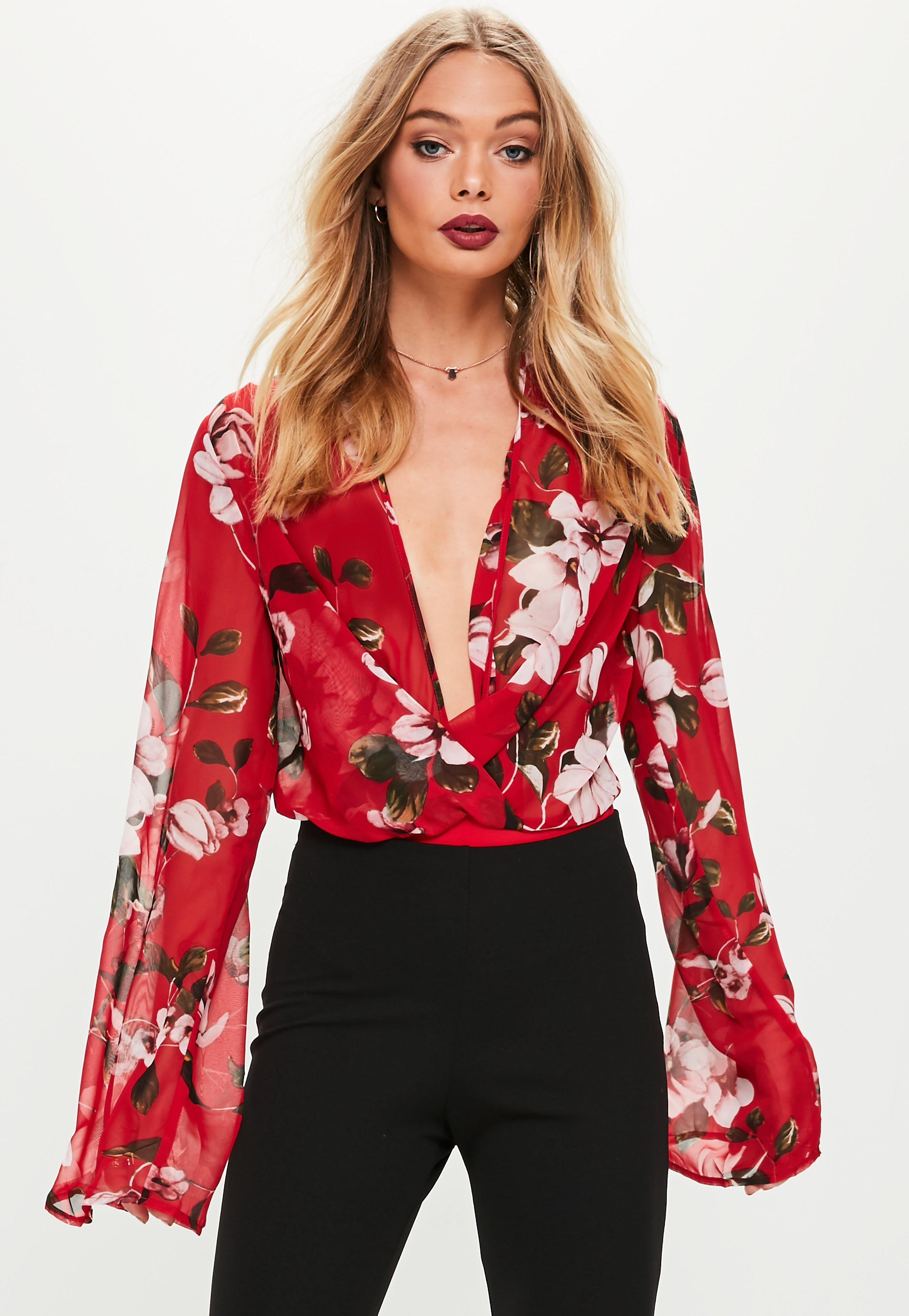 Outlet Footlocker Missguided Floral Print Plunge Bodysuit Low Price Fee Shipping Sale Online Visit New Sale Online From China Online Many Colors 3O9TrN56