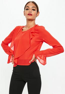 Red Ruffle Front Sheer Blouse
