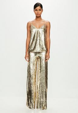 Peace + Love Gold Sequin Top
