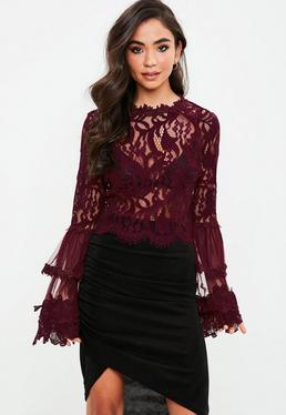Burgundy Lace Crochet Flared Sleeve Blouse