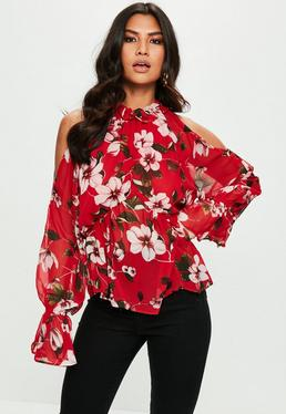 Red Floral Print Cold Shoulder Chiffon Blouse