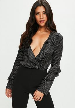 Black Polka Dot Satin Bodysuit