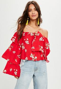 Red Floral Print Bardot Top