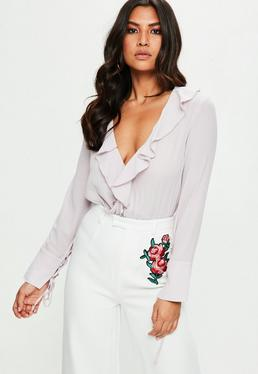 Lilac Long Sleeve Ruffle Wrap Bodysuit