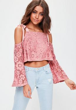 Pink Cold Shoulder Broderie Anglais Top
