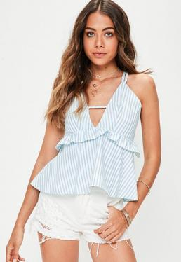 Blue Striped Frill Detail Cami Top