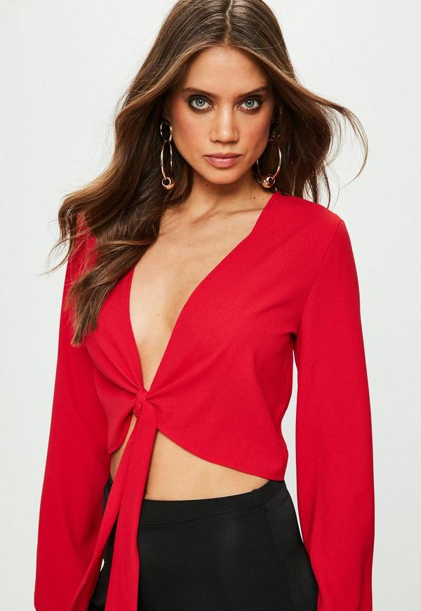 Red Tie Front Crop Top Missguided