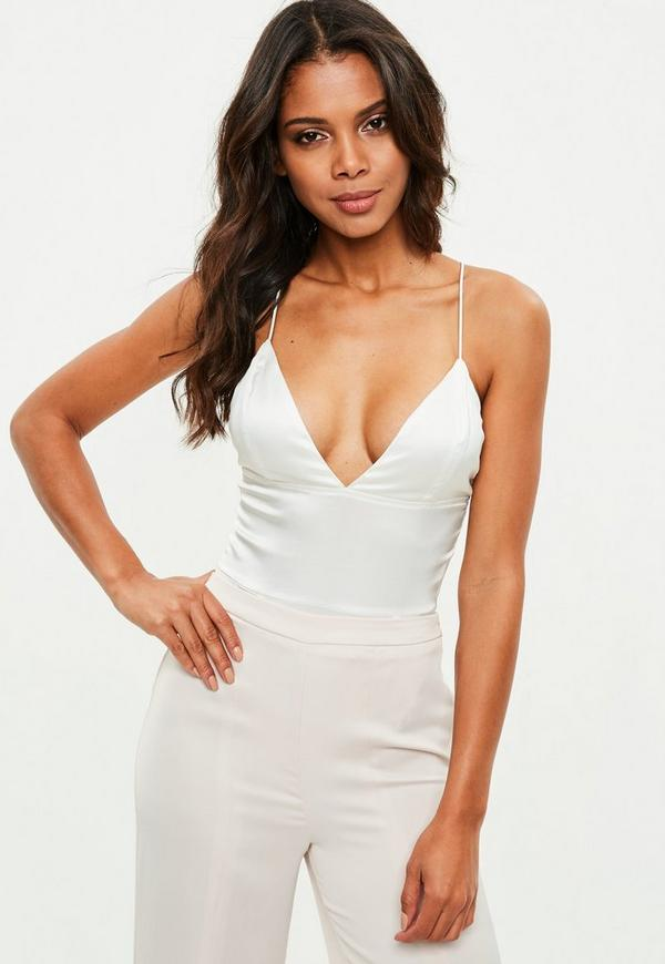 ... White Basic Satin Bodysuit. Previous Next a0184b74f