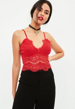 Red Lace Strappy Bralette