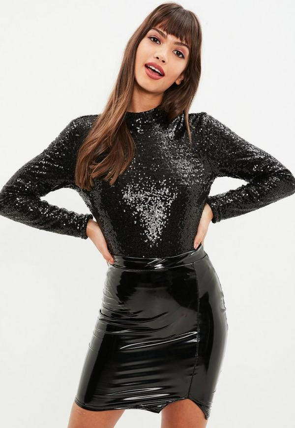 a2286e9e Shoptagr | Black Sequin High Neck Long Sleeve Bodysuit by Missguided