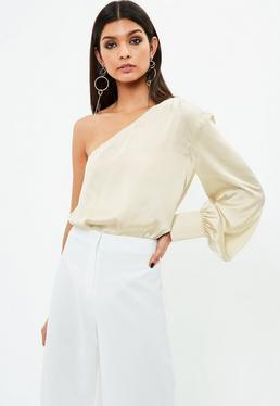 Cream Satin One Shoulder Bodysuit