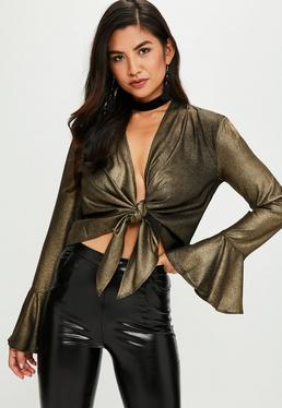 Gold Metallic Tie Front Flare Sleeve Blouse