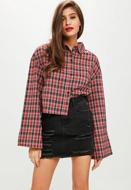 Red Check Flared Shirt