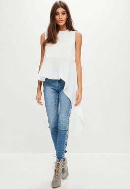 White Sleeveless Dip Hem Blouse