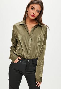 Khaki Basic Satin Shirt
