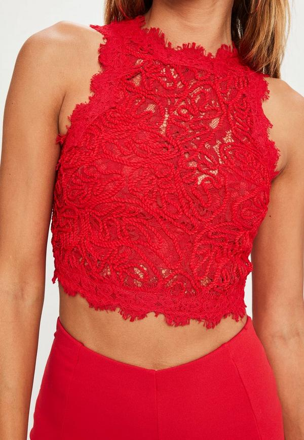 red cornelli lace sleeveless crop top missguided