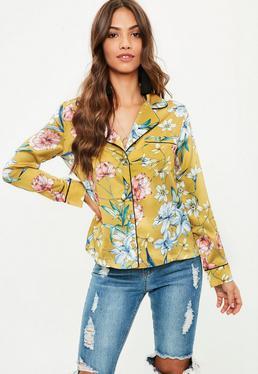 Mustard Yellow Satin Floral Pyjama Shirt