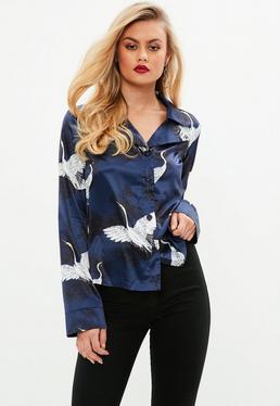 Blue Bird Print Satin Pyjama Style Blouse