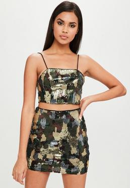 Carli Bybel x Missguided Green Camo Sequin Top