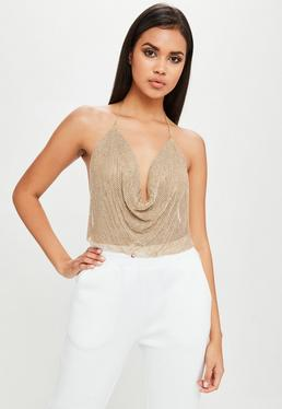 Carli Bybel x Missguided Gold Chain Mail Cowl Bralet