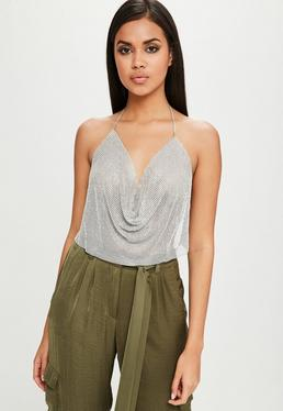Carli Bybel x Missguided Silver Chain Mail Cowl Bralette