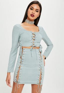 Carli Bybel x Missguided Blue Lace Up Crop Top