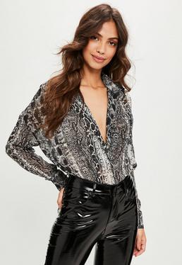 Grey Snake Print Oversized Shirt